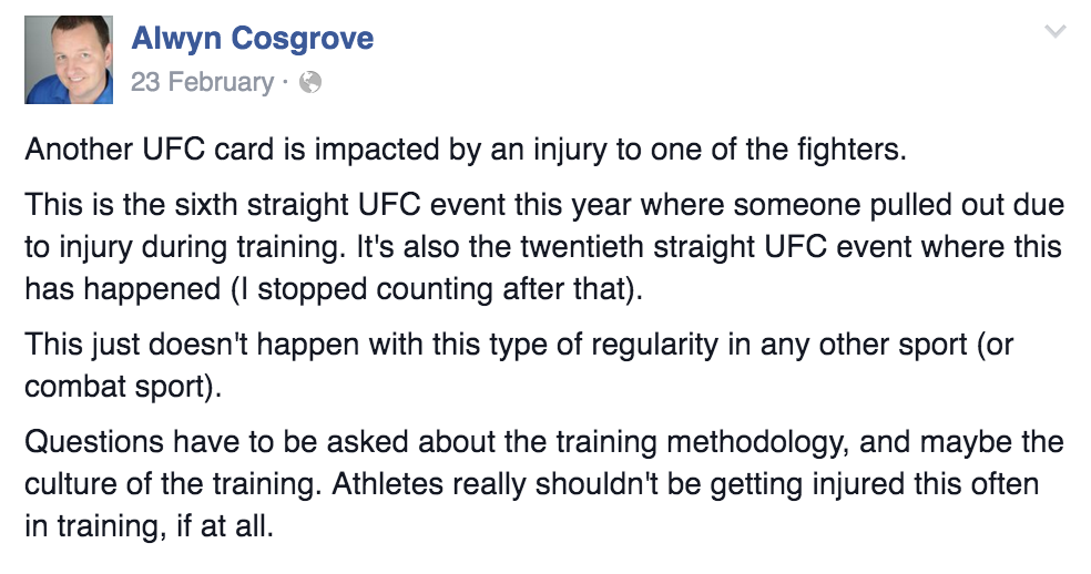 "Google ""Cain Velasquez training"" for visual evidence of what bad training looks like."